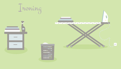 Tools for housekeeping: spray, a table, an iron, an ironing board, the colorful linen and a basket. Vector illustration. Ironing