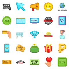 Online store icons set. Cartoon set of 25 online store vector icons for web isolated on white background