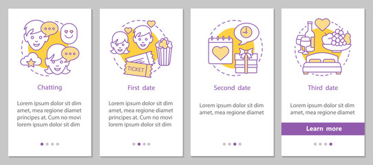 Online dating onboarding mobile app page screen with linear conc
