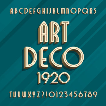 Art deco alphabet typeface. 3D effect type letters and numbers. Vector font for your design.