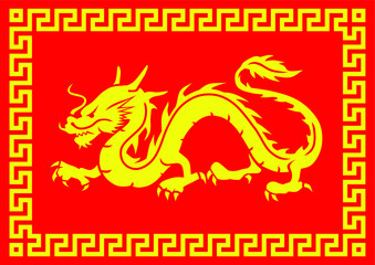 Dragon Decorative Square Red