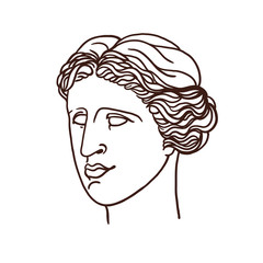 Portrait of the mythological Greek Venus. A woman in profile. Linear graphics. Vector illustration.