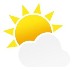 Sonne oder Sonnenschein mit Wolke als Vektor auf einem weißen isolierten Hintergrund