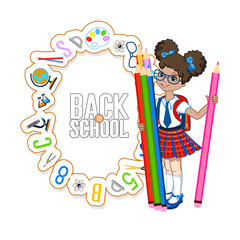 school background with little girl