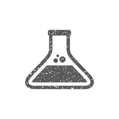 Beaker icon in grunge texture. Vintage style vector illustration.