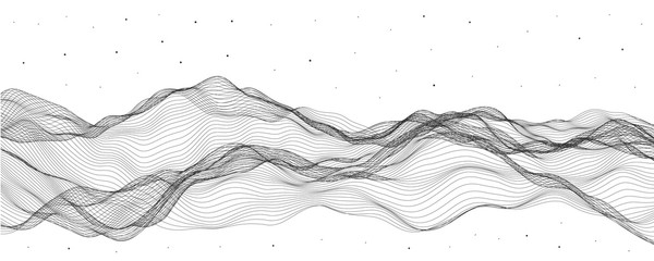 Vector illustration, linear deformers. Abstract stream waves. Wall mural