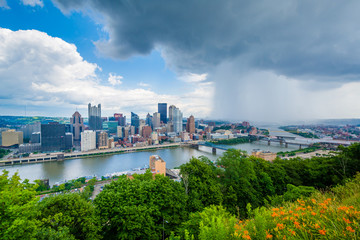 Flowers and stormy view of the Pittsburgh skyline, from Mount Washington, Pittsburgh, Pennsylvania.