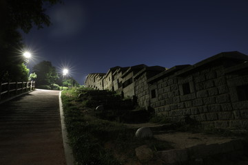 Naksan Fortress, Traditional Architecture of Korea in Seoul, South Korea.Classical architecture style stone steps.