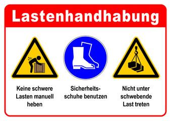 adbg4 AufDieserBaustelleGilt adbg - ks364 Kombi-Schild - Lastenhandhabung: Keine schwere Lasten manuell heben - Sicherheitsschuhe benutzen - Nicht unter schwebende Last treten - DIN A1 A2 A3 A4 g6339