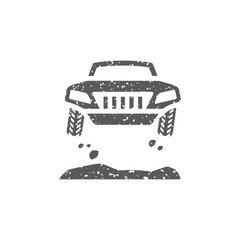 Rally car icon in grunge texture. Vintage style vector illustration.