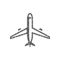 Airplane icon in grunge texture. Vintage style vector illustration.