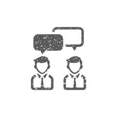 Teamwork icon in grunge texture. Vintage style vector illustration.