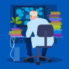 Scientist biologist working on the computer, back view. Vector