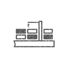 Container shipping  icon in grunge texture. Vintage style vector illustration.