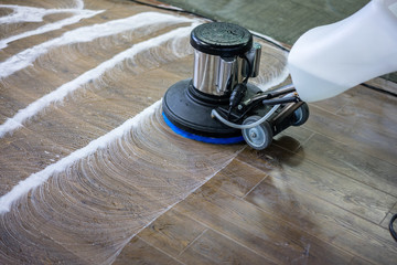 Obraz Floor care and cleaning services with washing machine - fototapety do salonu