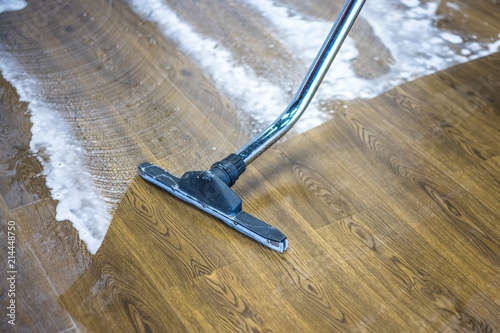 Floor Care And Cleaning Services With Washing Machine Stock Photo