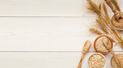 Cereals and legumes assortment on wooden table Wall mural