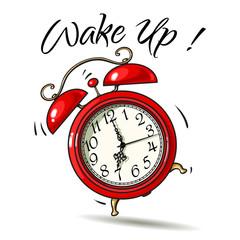 Cartoon red alarm clock ringing. Wake-up text. Vector
