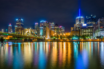 The Pittsburgh skyline at night, seen from Allegheny Landing, in Pittsburgh, Pennsylvania.
