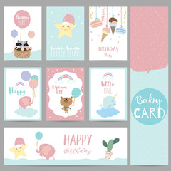 Pink blue pastel greeting card with skunk,star,bear,balloon,ice cream,narwhal,elephant,cactus,cloud and basket