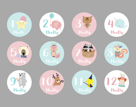Pastel baby number sticker with star,elephant,bear,skunk,squirrel,fox,bear,reindeer and narwhal