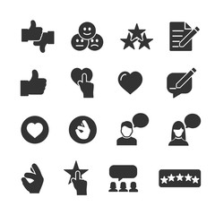 Vector image set of feedback and testimonials icons.