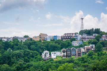 View of houses on a hillside on Mount Washington, in Pittsburgh, Pennsylvania