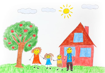 Illustration of a happy family with an apple tree and a house