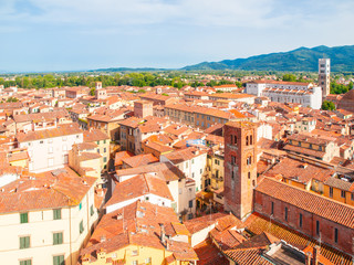 Lucca summer skyline with St Martin Cathedral and bell towers, Tuscany, Italy.