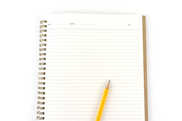 Notebook paper with pencil isolated on white background.