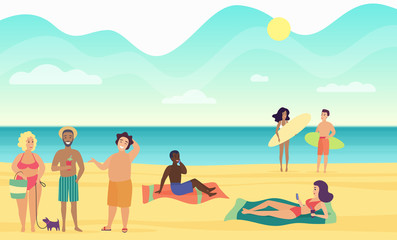 Beach summer people performing leisure and relaxing vector illustration.