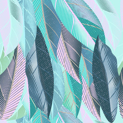 Blue tropical vector pattern with palm leafs
