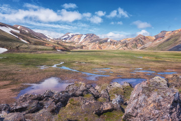 Canvas Prints Cappuccino Amazing color volcanic mountains Landmannalaugar in the Fjallabak nature reserve, Iceland. Beautiful summer landscape of famous place