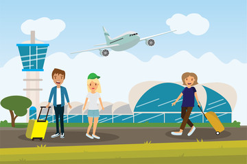 enjoy your holiday travel trip around the world at airport- vector illustration