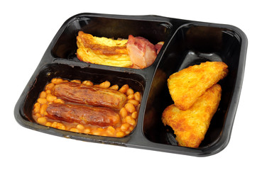 English all day breakfast ready meal isolated on a white background