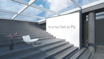 lightbox in minimal Space for advertising be better 3d Rendering