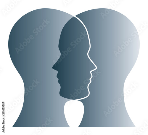 Gray Silhouettes Of Two Heads On White Background Two Overlapping