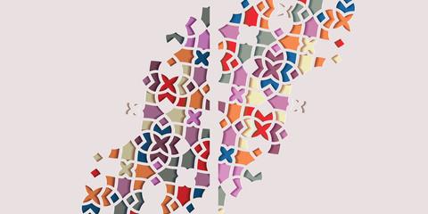 Arabic arabesque design greeting card for Ramadan Kareem. Islamic ornamental colorful mosaic. Vector illustration.