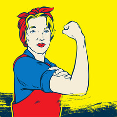 Great illustration of a Retro Strong Powerful Woman inspired by the Famous World War Two propaganda Poster of Rosie the Riveter calling for women to play their part in the war effort.