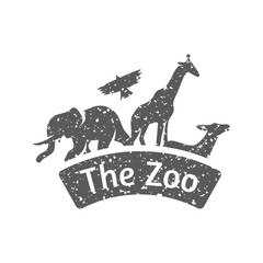 Zoo gate icon in grunge texture. Vintage style vector illustration.