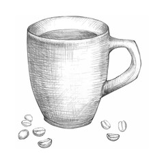 Cup of coffee with coffee beans hand drawn