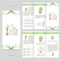 Tri-fold floral brochure with hand drawn cactus, flower, plant and aloe vera.