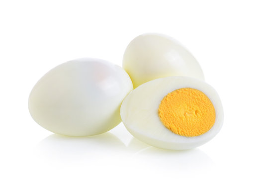 boiled egg on white background