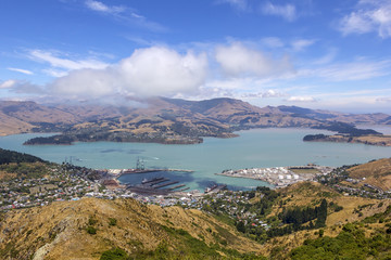 Poster Hill View to Lyttelton, close to Christchurch, South Island of New Zealand.