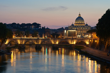 Cathedral of St. Peter in the Vatican in the evening