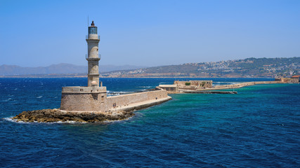 Lighthouse in the bay of Chania in Crete in Greece