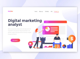 Flat Modern design of wesite template - Digital Marketing analyst