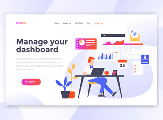 Flat Modern design of wesite template - Manage your dashboard