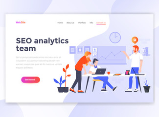 Flat Modern design of wesite template - Seo Analytics team