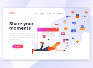 Flat Modern design of wesite template - Share your moments
